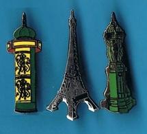 3 PIN'S //  ** PARIS / TOUR EIFFEL / COLONNES MORRIS  & FONTAINES WALLACE ** . (Corner) - Celebrities