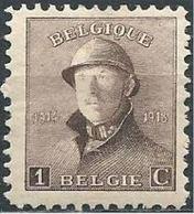 "BELGIQUE BELGIEN BELGIUM 1919  Albert 1er , Série Dite ""Roi Casqué"" Format 18*21 1c YV 165 MI 145 SC 124 SG 237 - 1919-1920 Behelmter König"