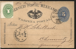 J) 1889 MEXICO, NUMERAL, 5 CENTS BLUE, 1 CENT GREEN, ERROR FROM PERFORATION, EAGLE, CIRCULATED COVER, FROM MEXICO TO GER - Mexico