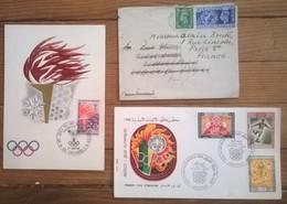 Lot De 4 Enveloppes Et Timbres JEUX OLYMPIQUES MEXICO 1968 PREMIER JOUR + OLYMPIC GAMES 1948 - Ete 1968: Mexico