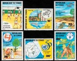 ~~~  Congo Brazzaville 1996 - Cinema Volley UNICEF OMT ONU FAO - Mi. 1498/1503 YT. 1027/1032  ** MNH ~~~ - Congo - Brazzaville