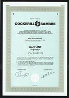 COCKERILL SAMBRE (Be). - 1 WARRANT AU PORTEUR N° A 00084972 - 1989. - Actions & Titres