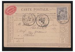 """FRANCE--1876--CARTE PRECURSEUR AVEC PUBLICITE--""""H.GRAVIER /VINS & GRAINS/GAILLAC"""" 15c SAGE N Ss B-- VIN -- - Storia Postale"""