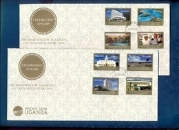 UGANDA FDC 2 First Day Covers With 8 Stamp Set Aga Khan 50th Anniversary Coronation 2008 - Uganda (1962-...)