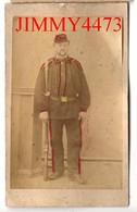 CARTE CDV Tirage Alluminé 19ème - Portrait D'un Militaire à Identifier - Taille 63 X 104 - Photo GILBERT Coutances - Photographs