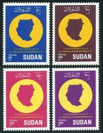 Sudan 378-381,MNH.Michel 413-416. Independence,33th Ann.in 1989.Map.1990. - Sudan (1954-...)