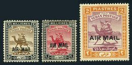 Sudan C1-C3,lightly Hinged.Michel 51-53. Camel Rider.Surcharged AIR MAIL,1931. - Postzegels