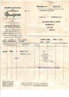 FACTURE AUTOMOBILES PEUGEOT à LEVALLOIS 1937 - France