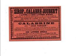 CARTE PUBLICITAIRE SIROPS JOUBERT PARIS - RECTO VERSO - Advertising