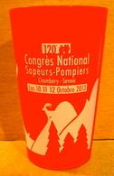 VERRE GOBELET EN PLASTIQUE 120e  CONGRES NATIONAL SAPEURS-POMPIERS CHAMBERY-SAVOIE LES 10-11-12 OCTOBRE 2013 ( ROUGE ) - Verres