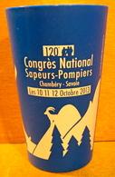 VERRE GOBELET EN PLASTIQUE 120e  CONGRES NATIONAL SAPEURS-POMPIERS CHAMBERY-SAVOIE LES 10-11-12 OCTOBRE 2013 ( BLEU ) - Verres