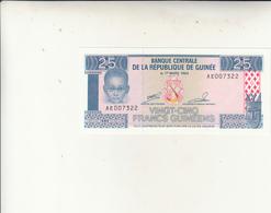 Banque Centrale De La République De Guinée, Banconota Da 25 Francs Uncirculed 1960 - Guinea