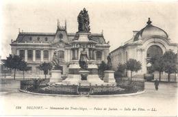 124. BELFORT . MONUMENT DES TROIS SIEGES - PALAIS DE JUSTICE - SALLE DES FETES . CARTE NON ECRITE - Belfort – Siège De Belfort