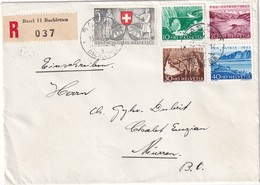 SUISSE 1953 LETTRE RECOMMANDEE DE BALE AVEC CACHET ARRIVEE MÜRREN - Briefe U. Dokumente