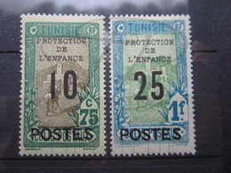 VEND BEAUX TIMBRES DE TUNISIE N° 116 + 117 , X !!! - Tunisie (1888-1955)