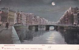 1850136Amsterdam, Rokin Bij Avond. - Amsterdam