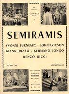 Dossier De Presse Cinéma.Cosmopolis Films. Affichette Semiramis. Yvonne Furneaux, John Ericson, Gianni Rizzo. - Cinema Advertisement