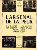 Dossier De Presse Cinéma.Cosmopolis Films. Affichette L'arsenal De La Peur. David Niven, Lea Massari. - Cinema Advertisement