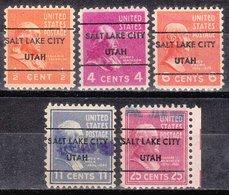 USA Precancel Vorausentwertung Preo, Locals Utah, Salt Lake City L-1 TS, 5 Diff. - Etats-Unis