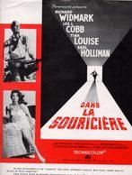 Dossier De Presse Cinéma. Affichette Paramount, Dans La Souricière. R.Widmark, Lee J. Cobb, Tina Louise. - Cinema Advertisement