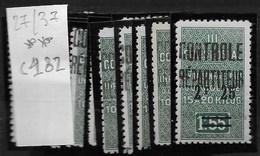 Algérie_Colis Postaux 27 à 37 ** Cote 182 - Algérie (1924-1962)