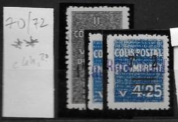 Algérie_Colis Postaux 70 à 72 ** Cote 44,2 - Algérie (1924-1962)