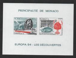 MONACO EUROPA 1994 - BLOC FEUILLET SPECIAL NON DENTELE - N° 23a ** MNH - COTE 230 EUR - Blocs