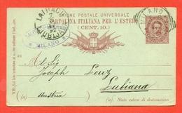 INTERI POSTALI REGNO-CARTOLINE POSTALI - CP  C13 . MILL. 89 - DA MILANO PER LUBIANA - SLOVENIA-PUBBLICITARIE - 1861-78 Vittorio Emanuele II