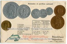 CARTOLINA CON RAPPRESENTAZIONE A RILIEVO MONETE MONNAIES ET PAVILLON NATIONAL ARGENTINE PESO ARGENTINA - Monete (rappresentazioni)