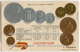 CARTOLINA CON RAPPRESENTAZIONE A RILIEVO MONETE MONNAIES ET PAVILLON NATIONAL L'ESPAGNE PESETA SPAGNA - Monete (rappresentazioni)