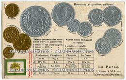 CARTOLINA CON RAPPRESENTAZIONE A RILIEVO MONETE MONNAIES ET PAVILLON NATIONAL LA PERSE TOMAN PERSIA IRAN - Monete (rappresentazioni)