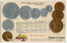 CARTOLINA CON RAPPRESENTAZIONE A RILIEVO MONETE MONNAIES ET PAVILLON NATIONAL EQUATEUR SUCRE EQUADOR - Monete (rappresentazioni)