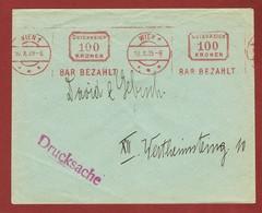 Infla Ab 1. Aug. 1923 Drucksache 100 Kr  Freistempel Bar Bezahlt - 1918-1945 1ra República