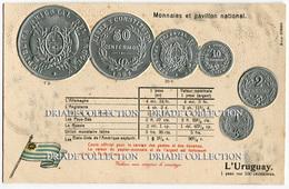 CARTOLINA CON RAPPRESENTAZIONE RILIEVO MONETE MONNAIES ET PAVILLON NATIONAL URUGUAY PESO - Monete (rappresentazioni)