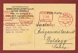 Infla Ab 1. Aug. 1923 Drucksache 100 Kr  Freistempel Bar Bezahlt - 1918-1945 1. Republik