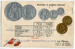 CARTOLINA CON RAPPRESENTAZIONE RILIEVO MONETE MONNAIES ET PAVILLON NATIONAL LE PEROU SOL PERU - Monete (rappresentazioni)