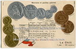 CARTOLINA CON RAPPRESENTAZIONE RILIEVO MONETE MONNAIES ET PAVILLON NATIONAL LE CHILI PESO CILE - Monete (rappresentazioni)