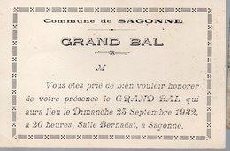 Sagonne (18 Cher) Invitation Au GRAND BAL 1932  (PPP14835) - Unclassified