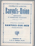 Banyuls Sur Mer (Pyrénées Orientales) Dépliant COOPERATIVE AGRICOLE Banyuls Union  (PPP14838) - Publicités