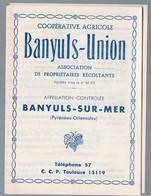 Banyuls Sur Mer (Pyrénées Orientales) Dépliant COOPERATIVE AGRICOLE Banyuls Union  (PPP14838) - Reclame