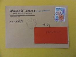 COMUNI D'ITALIA BUSTA DEL 2001 COMUNE DI LATTARICO UFFICIO 2 REGINA CON REGNO LOMBARDO VENETO ISOLATO - 2001-10: Marcophilia