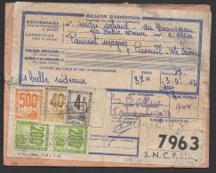 HAUTE SAONE : Etiquette De Sac Avec BULLETIN DE COLIS POSTAL PETITS COLIS Affranchi à 944F Avec 5 Timbres Oblt  LUXEUIL - Colis Postaux