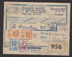 AUBE :  BULLETIN DE COLIS POSTAL PETITS COLIS Affranchi à 1052F Avec 4 Timbres Oblt  LUXEUIL - Colis Postaux