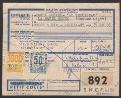 HAUTE SAONE :  BULLETIN DE COLIS POSTAL PETITS COLIS Affranchi à 1050F Avec 2 Timbres Oblt  GY - Colis Postaux