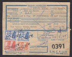 LOIRE : étiquette De S BULLETIN DE COLIS POSTAL PETITS COLIS Affrt à 6,45F Avec 4 Timbres Oblt REGNY - Colis Postaux