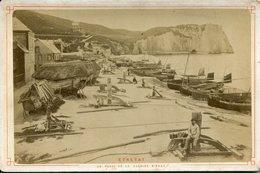 PHOTO DE CABINET ETRETAT 1885 PHOTOGRAPHES NEURDIN CALOGES BATEAUX PECHE TRANSPORTS CARTES POSTALES SEINE MARITIME - Photos