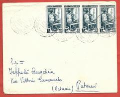 LETTERA VG ITALIA - ORDINARIA Italia Al Lavoro - Striscia Di 4 - 12 X 15 - ANN. 1951 AMB TARVISIO BOLOGNA - PATERNO - 6. 1946-.. Repubblica