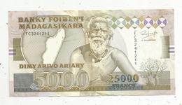 Billet , Madagascar , Banky Foiben'i Madagasikara ,25000 Francs ,5000 Ariary , 2 Scans - Madagascar