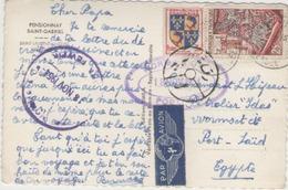 Cpsm 85 Saint Laurent Sur Sevre - Pensionnat Saint Gabriel - Carte Poster Pour L égypte De France Avec Tampon D égypte - Posta Aerea