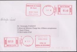 Italie 2012. EMA Double. Palais Farnese, Ambassade De France En Italie - Marcofilia - EMA ( Maquina De Huellas A Franquear)